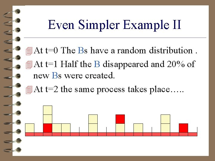 Even Simpler Example II 4 At t=0 The Bs have a random distribution. 4