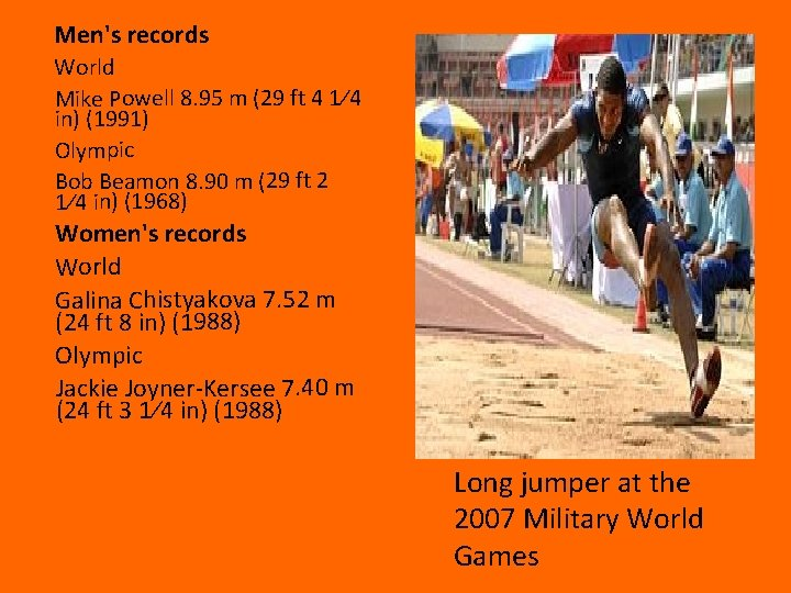 Men's records World Mike Powell 8. 95 m (29 ft 4 1⁄4 in) (1991)