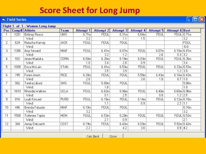 Score Sheet for Long Jump