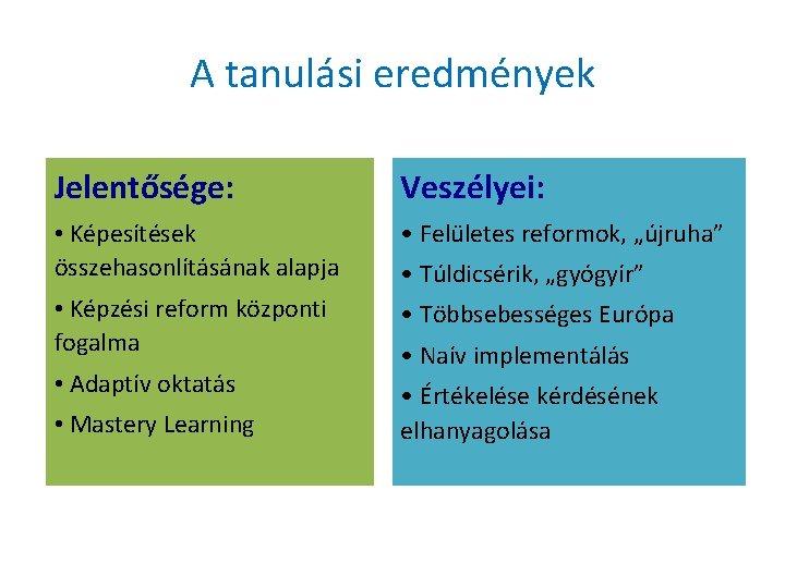 """A tanulási eredmények Jelentősége: Veszélyei: • Képesítések összehasonlításának alapja • Felületes reformok, """"újruha"""" •"""