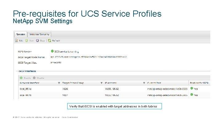 Pre-requisites for UCS Service Profiles Net. App SVM Settings Verify that i. SCSI is