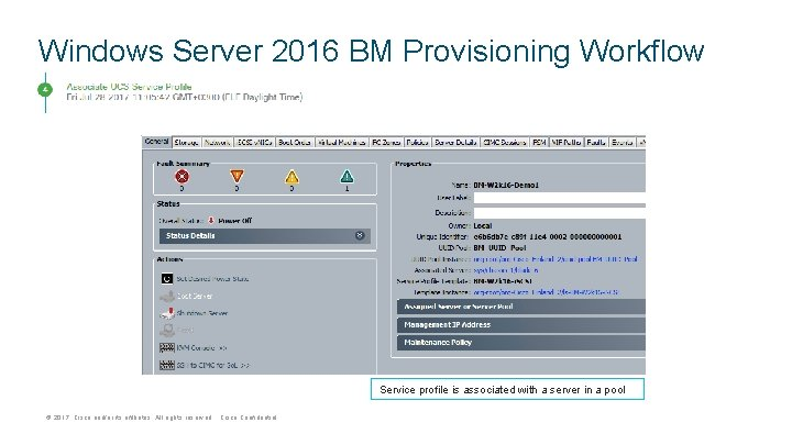 Windows Server 2016 BM Provisioning Workflow Service profile is associated with a server in