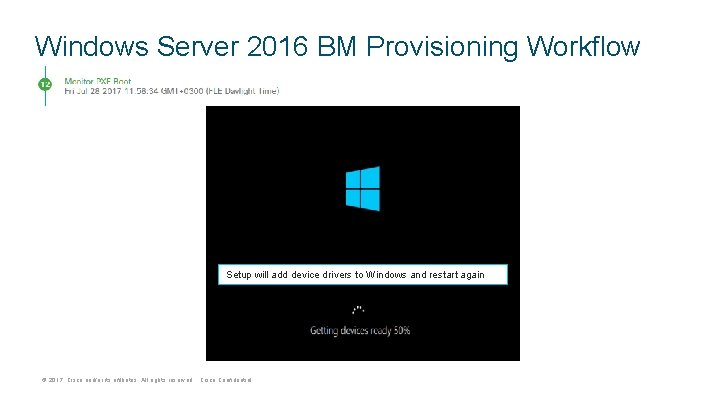 Windows Server 2016 BM Provisioning Workflow Setup will add device drivers to Windows and