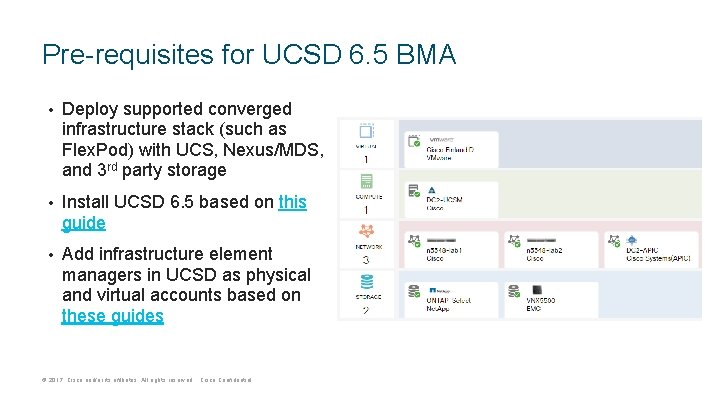 Pre-requisites for UCSD 6. 5 BMA • Deploy supported converged infrastructure stack (such as