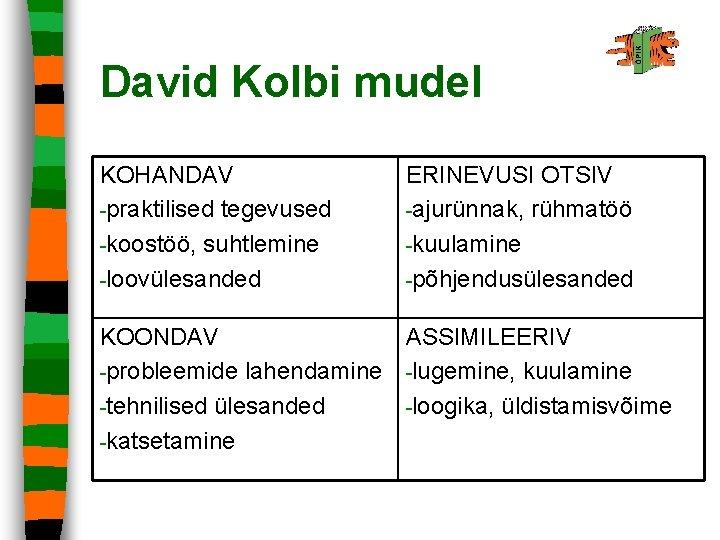 David Kolbi mudel KOHANDAV -praktilised tegevused -koostöö, suhtlemine -loovülesanded ERINEVUSI OTSIV -ajurünnak, rühmatöö -kuulamine