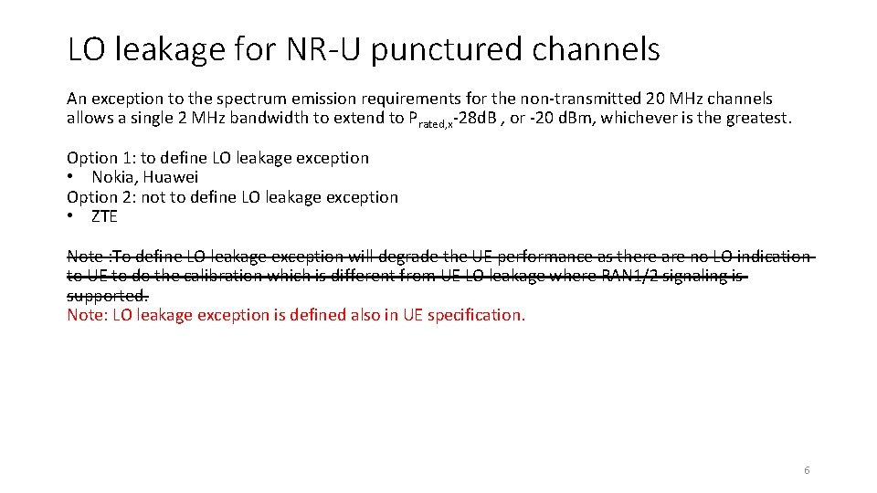 LO leakage for NR-U punctured channels An exception to the spectrum emission requirements for