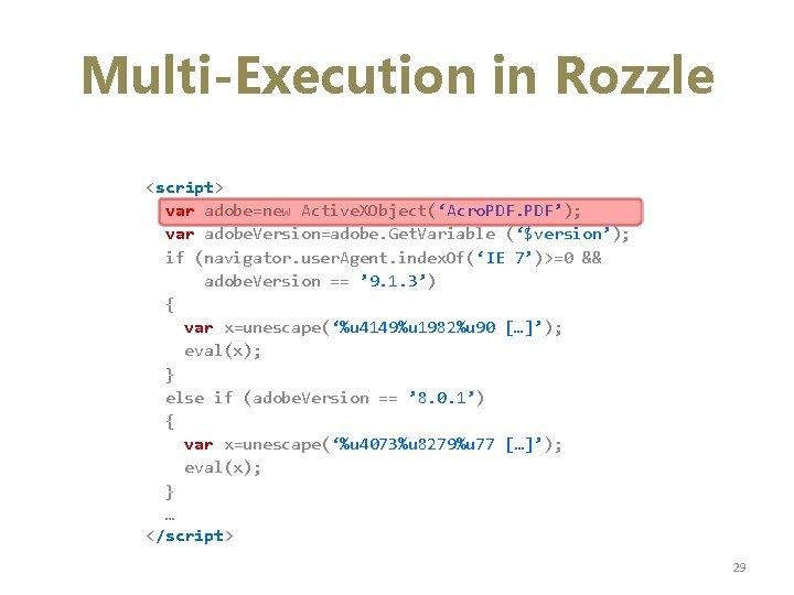 Multi-Execution in Rozzle <script> var adobe=new Active. XObject('Acro. PDF'); var adobe. Version=adobe. Get. Variable