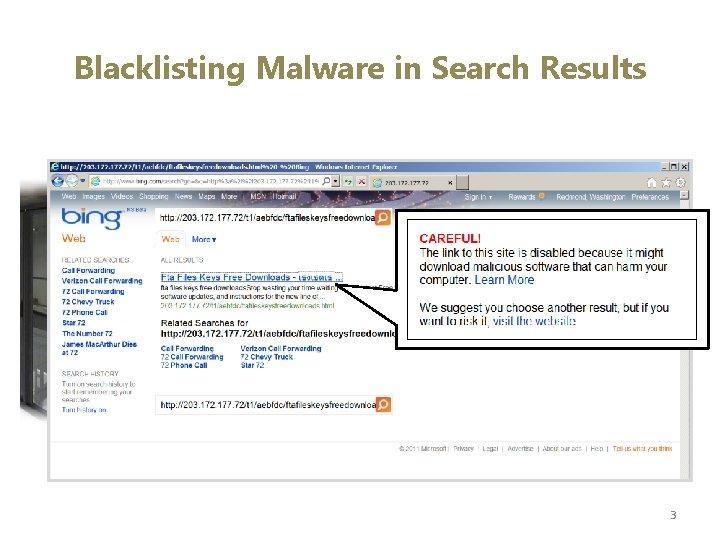 Blacklisting Malware in Search Results 3