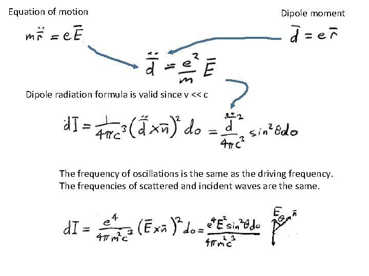 Equation of motion Dipole moment Dipole radiation formula is valid since v << c