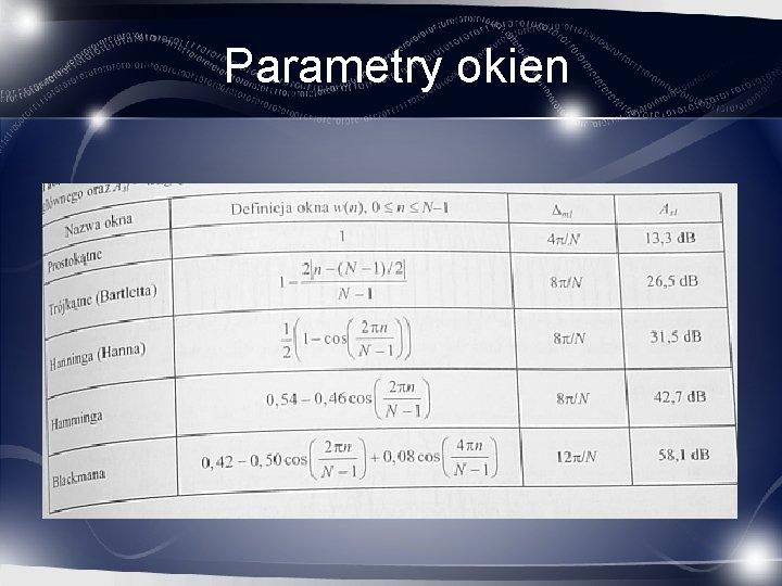 Parametry okien