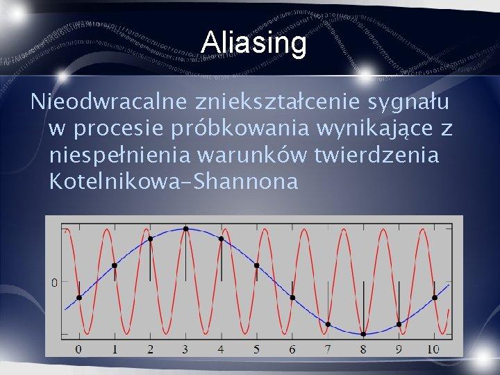 Aliasing Nieodwracalne zniekształcenie sygnału w procesie próbkowania wynikające z niespełnienia warunków twierdzenia Kotelnikowa-Shannona