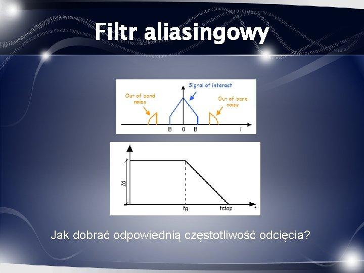 Filtr aliasingowy Jak dobrać odpowiednią częstotliwość odcięcia?