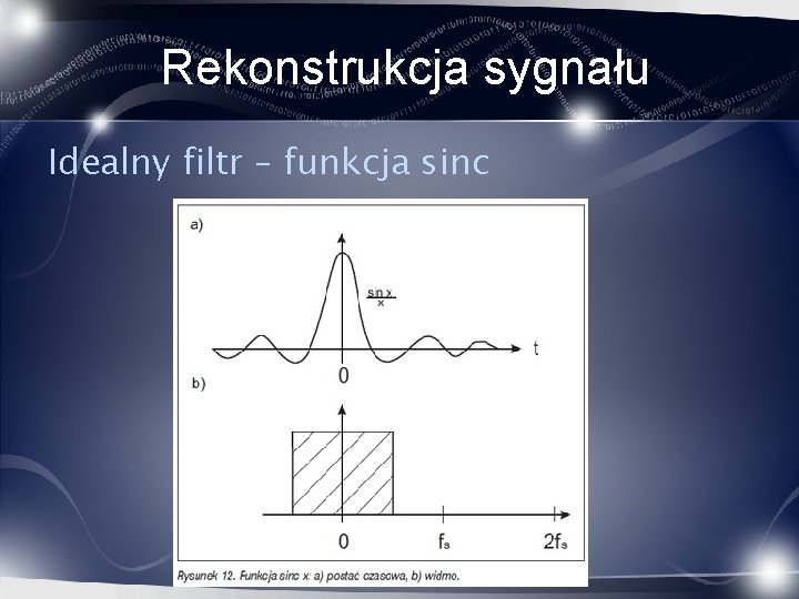 Rekonstrukcja sygnału Idealny filtr – funkcja sinc
