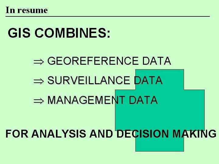 In resume GIS COMBINES: Þ GEOREFERENCE DATA Þ SURVEILLANCE DATA Þ MANAGEMENT DATA FOR