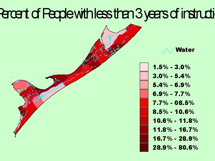 Percent of Peoplewithlessthan 3 years of instructio Water 1. 5% 3. 0% 5. 4%