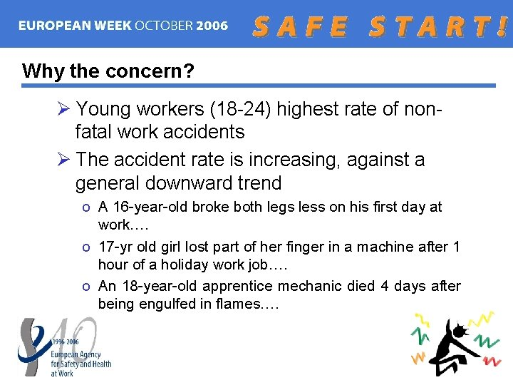 Why the concern? Ø Young workers (18 -24) highest rate of nonfatal work accidents