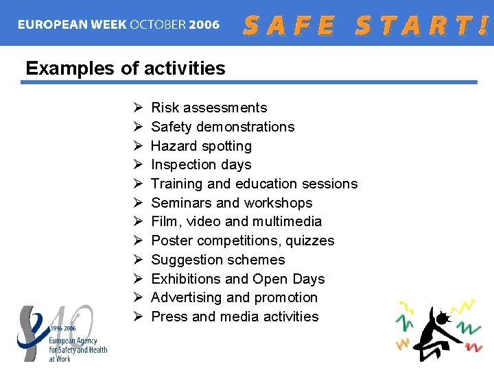 Examples of activities Ø Ø Ø Risk assessments Safety demonstrations Hazard spotting Inspection days