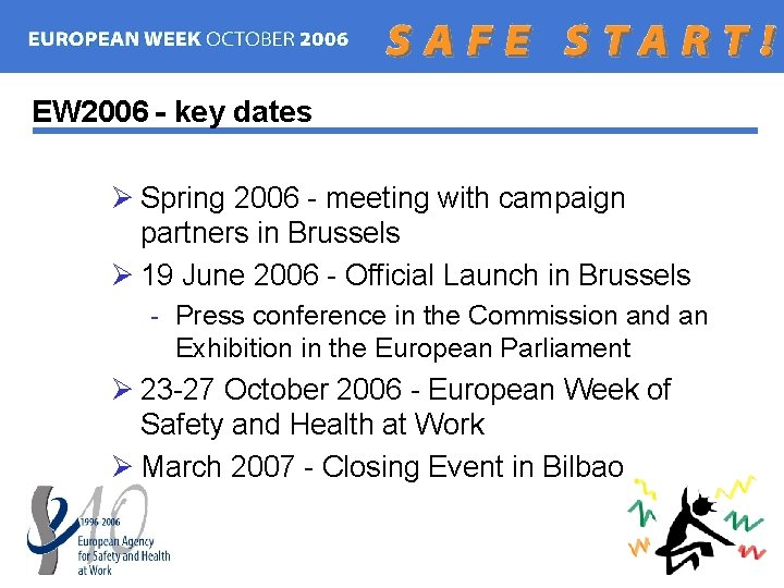 EW 2006 - key dates Ø Spring 2006 - meeting with campaign partners in
