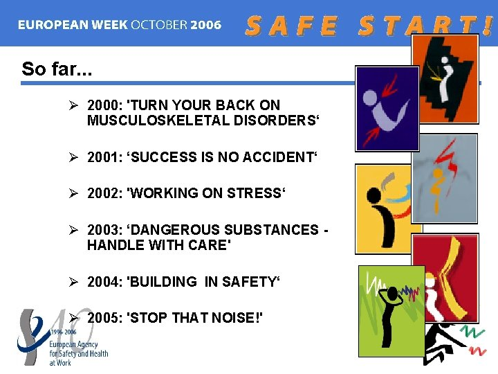 So far. . . Ø 2000: 'TURN YOUR BACK ON MUSCULOSKELETAL DISORDERS' Ø 2001:
