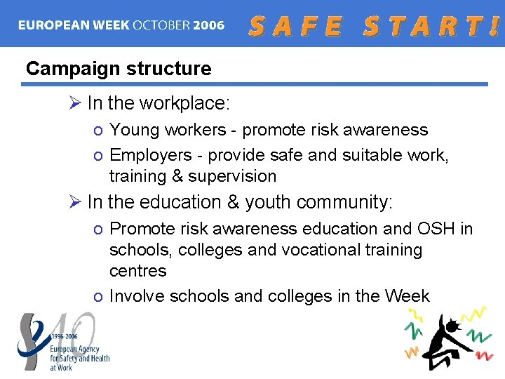 Campaign structure Ø In the workplace: o Young workers - promote risk awareness o