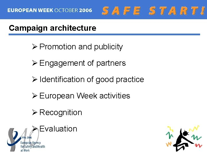 Campaign architecture Ø Promotion and publicity Ø Engagement of partners Ø Identification of good