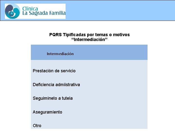 """PQRS Tipificadas por temas o motivos """"Intermediación"""" Intermediación Prestaciòn de servicio Deficiencia admiistrativa Seguimineto"""