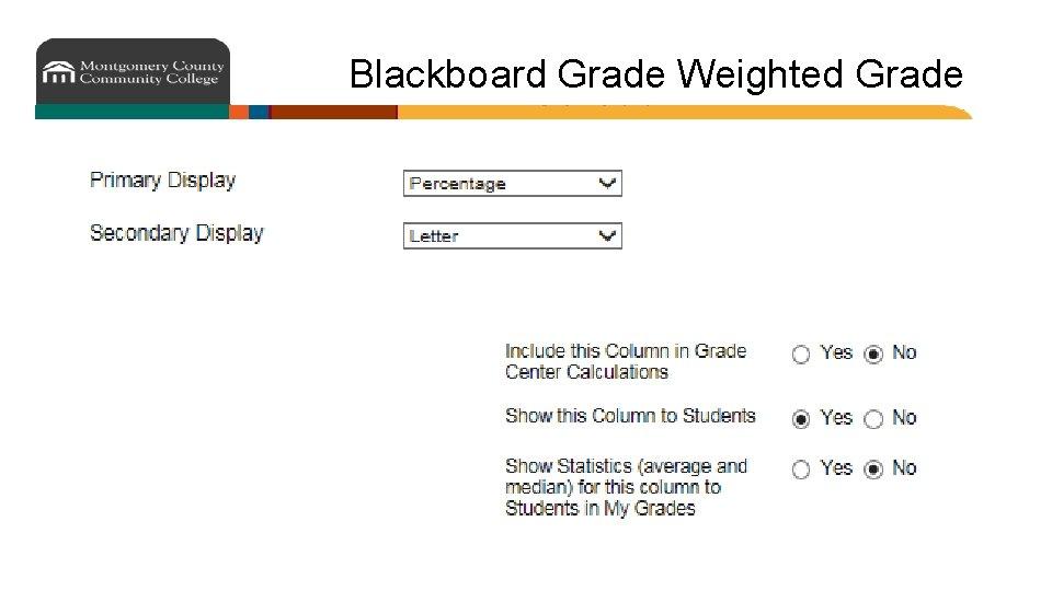 Blackboard Grade Weighted Grade