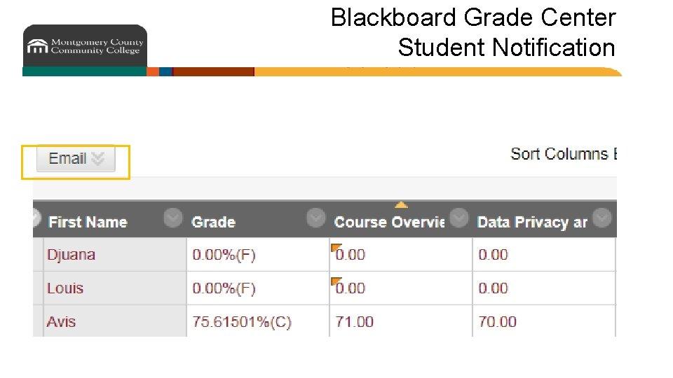 Blackboard Grade Center Student Notification