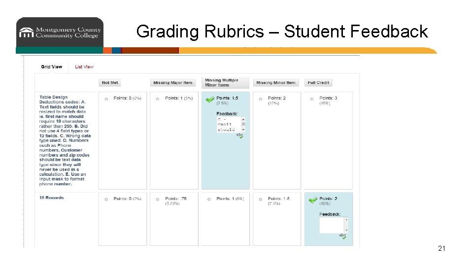 Grading Rubrics – Student Feedback 21