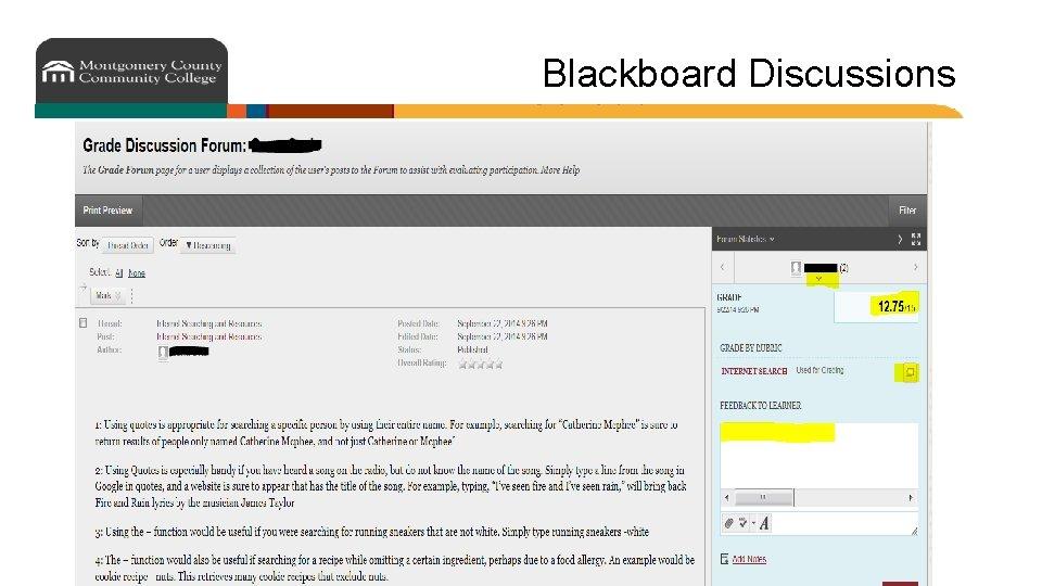 Blackboard Discussions