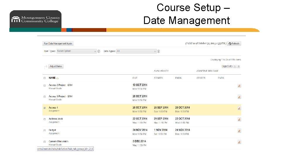 Course Setup – Date Management