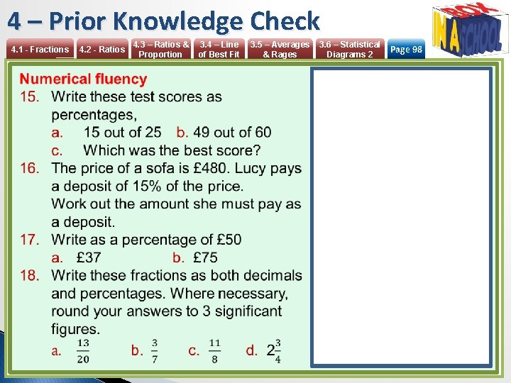 4 – Prior Knowledge Check 4. 1 - Fractions 4. 2 - Ratios 4.