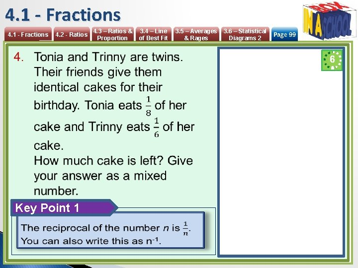 4. 1 - Fractions 4. 2 - Ratios Key Point 1 4. 3 –