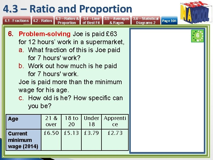 4. 3 – Ratio and Proportion 4. 1 - Fractions 4. 2 - Ratios