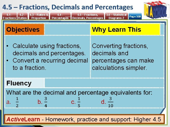 4. 5 – Fractions, Decimals and Percentages 4. 1 4. 2 Fractions Ratios 4.