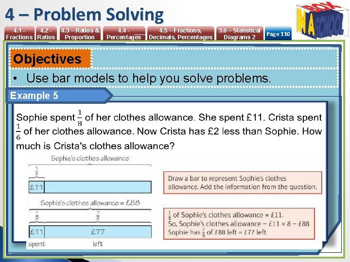 4 – Problem Solving 4. 1 4. 2 Fractions Ratios 4. 3 – Ratios