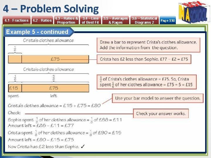 4 – Problem Solving 4. 1 - Fractions 4. 2 - Ratios 4. 3