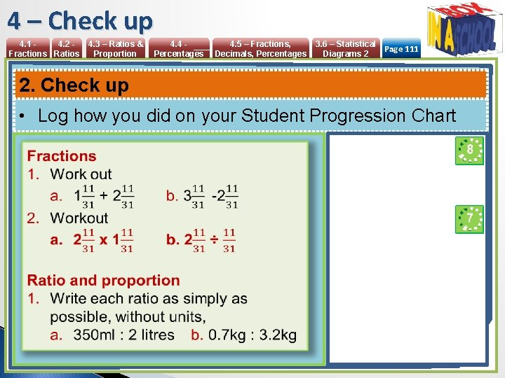 4 – Check up 4. 1 4. 2 Fractions Ratios 4. 3 – Ratios