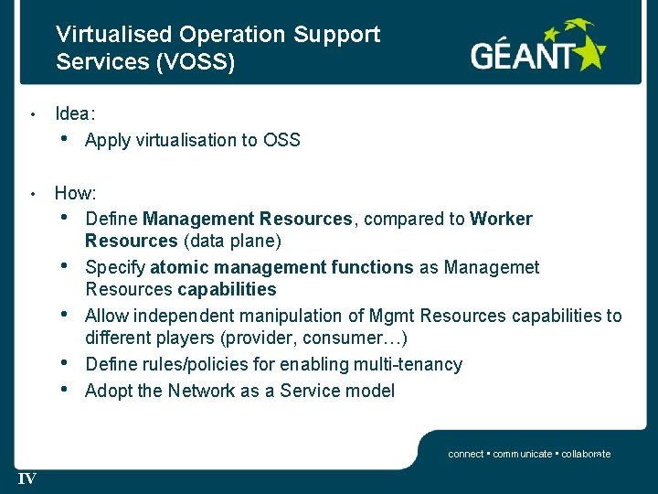 Virtualised Operation Support Services (VOSS) • Idea: • Apply virtualisation to OSS • How: