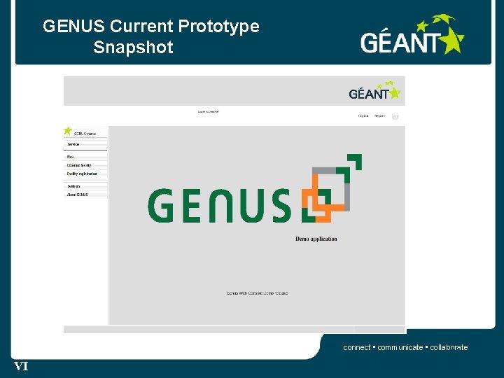 GENUS Current Prototype Snapshot connect • communicate • collaborate 22 VI