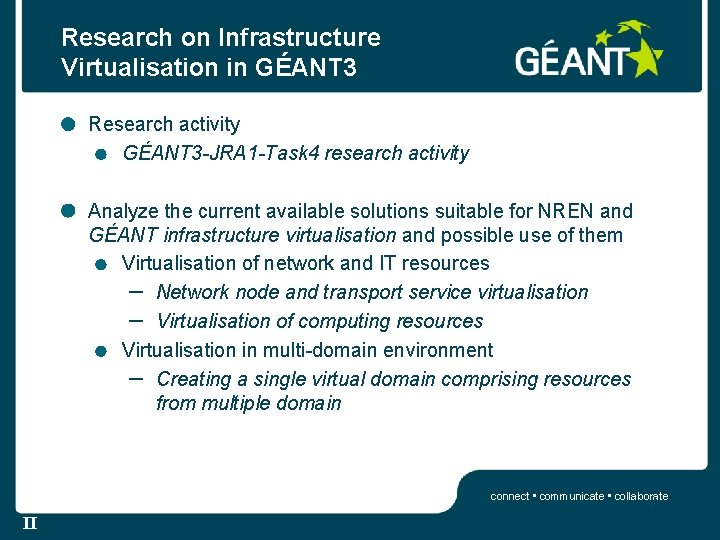 Research on Infrastructure Virtualisation in GÉANT 3 Research activity GÉANT 3 -JRA 1 -Task