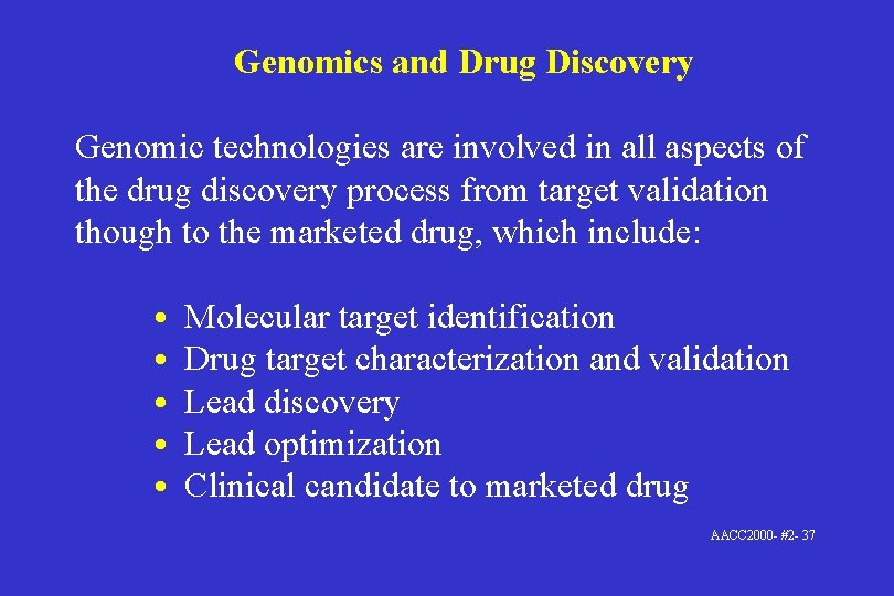 Genomics and Drug Discovery Genomic technologies are involved in all aspects of the drug