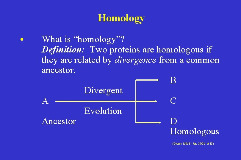 """Homology • What is """"homology""""? Definition: Two proteins are homologous if they are related"""