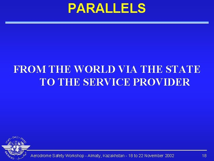 PARALLELS FROM THE WORLD VIA THE STATE TO THE SERVICE PROVIDER Aerodrome Safety Workshop