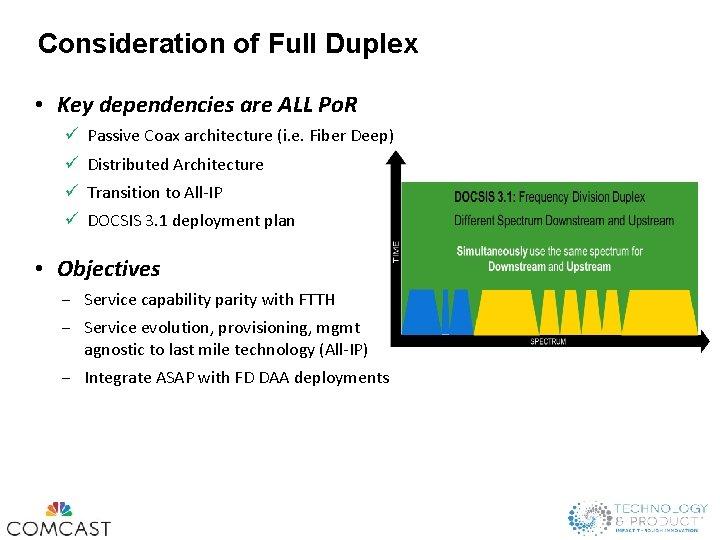 Consideration of Full Duplex • Key dependencies are ALL Po. R ü Passive Coax