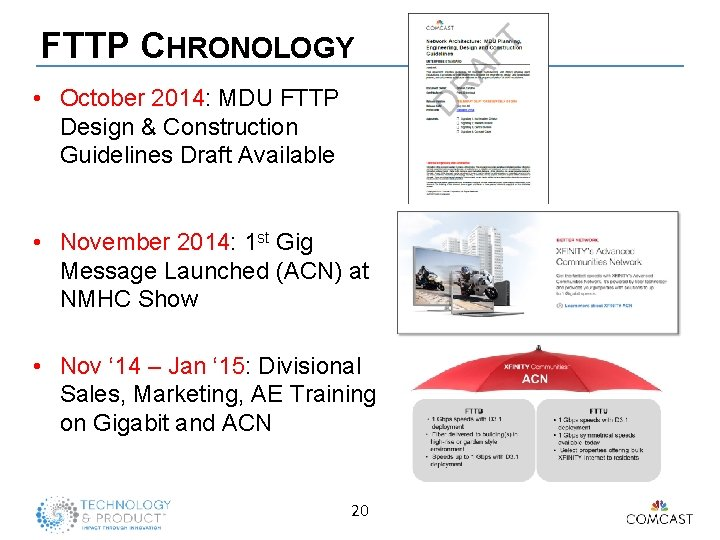 FTTP CHRONOLOGY • October 2014: MDU FTTP Design & Construction Guidelines Draft Available •
