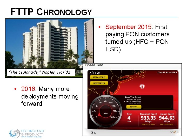FTTP CHRONOLOGY • September 2015: First paying PON customers turned up (HFC + PON