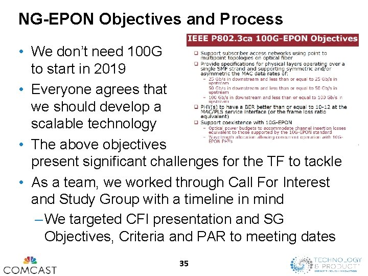 NG-EPON Objectives and Process • We don't need 100 G to start in 2019